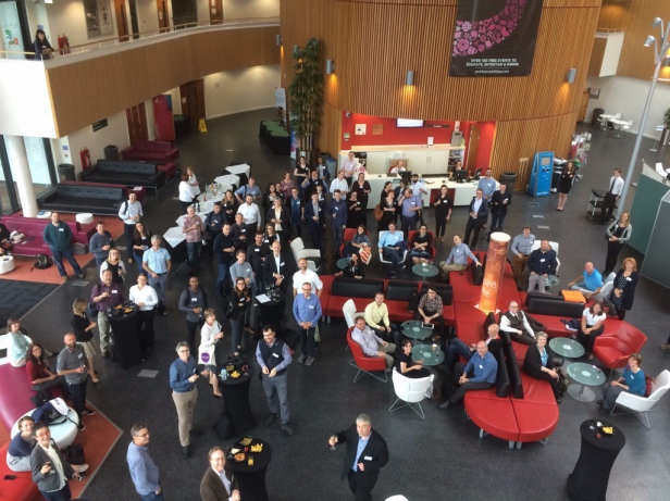 Delegates busy networking on Tuesday evening at RDN York (thanks to Paul Stokes for the photo, used with permission)