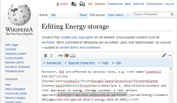 Editing a Wilipedia page