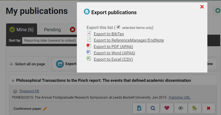 Exporting a bibtex file from Symplectic
