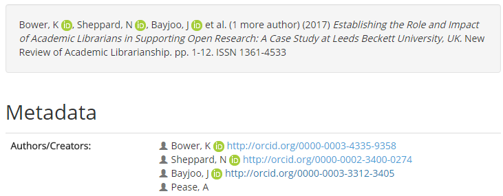 Repository record displaying linked ORCiD profiles