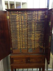 The Winchester coin cabinet, in Special Collections, the Brotherton Library, University of Leeds