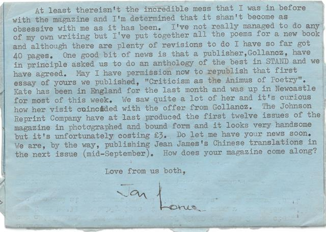 Letter to Merle Brown from Jon Silkin, 19 July 1969