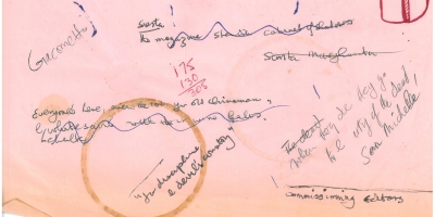 Page of notes from Ken Smith Archive