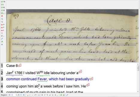 Screenshot of transcription of a William Hey case book in Transkribus