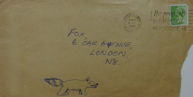 envelope with fox drawing