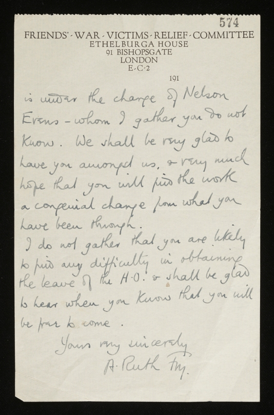 A. Ruth Fry letter