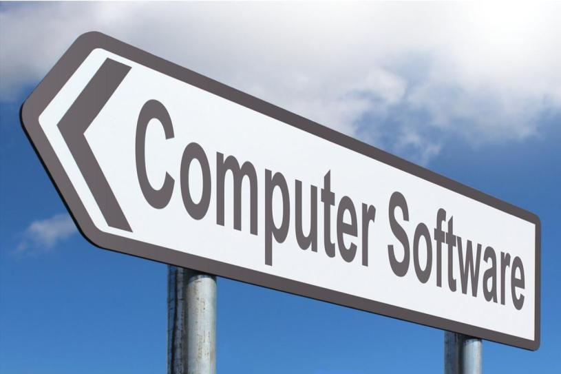 A road sign that reads 'Computer Software'
