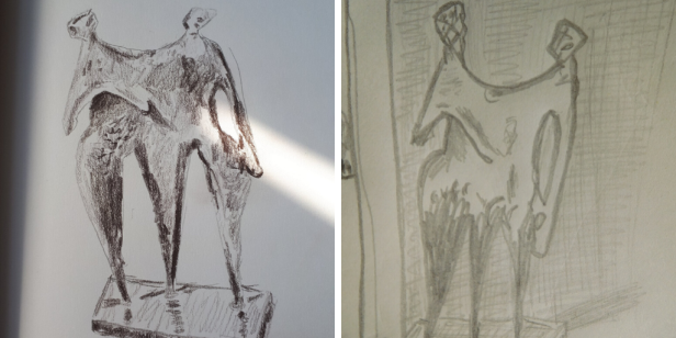 """Two sketches of a sculpture by Kenneth Armitage called """"Linked Figures""""."""