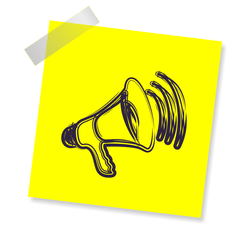 Image shows a yellow post-it note with an illustration of a megaphone
