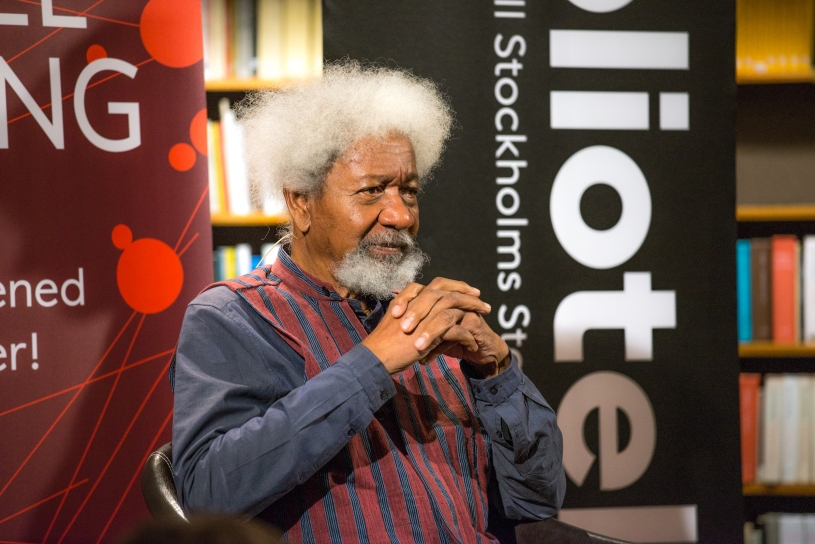 Wole Soyinka during a lecture at Stockholm Public Library on October 4, 2018