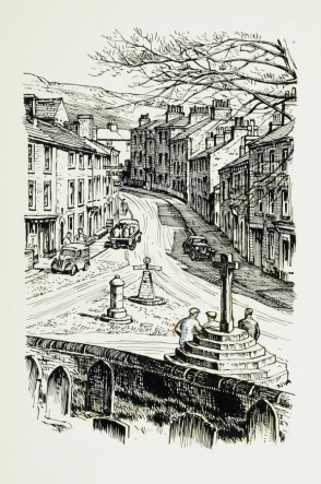 """Marie Hartley, The Street' (Askrigg Main Street, from the church yard). Original drawing used in """"Yorkshire Village"""" (1953), page 27. © Marie Hartley Estate. Image credit University of Leeds"""