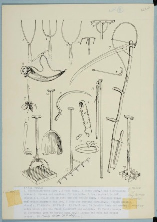 Marie Hartley, Farm tools: blacksmith-made fork, muck fork, straw fork, gathering rakes, grease and sandhorn for strickle, lye in full graith, standard, star for cutting turnips, wooden grain shovel, sickle, flail, flail cap, leather loop and wooden wedge. © Marie Hartley Estate. Image credit University of Leeds