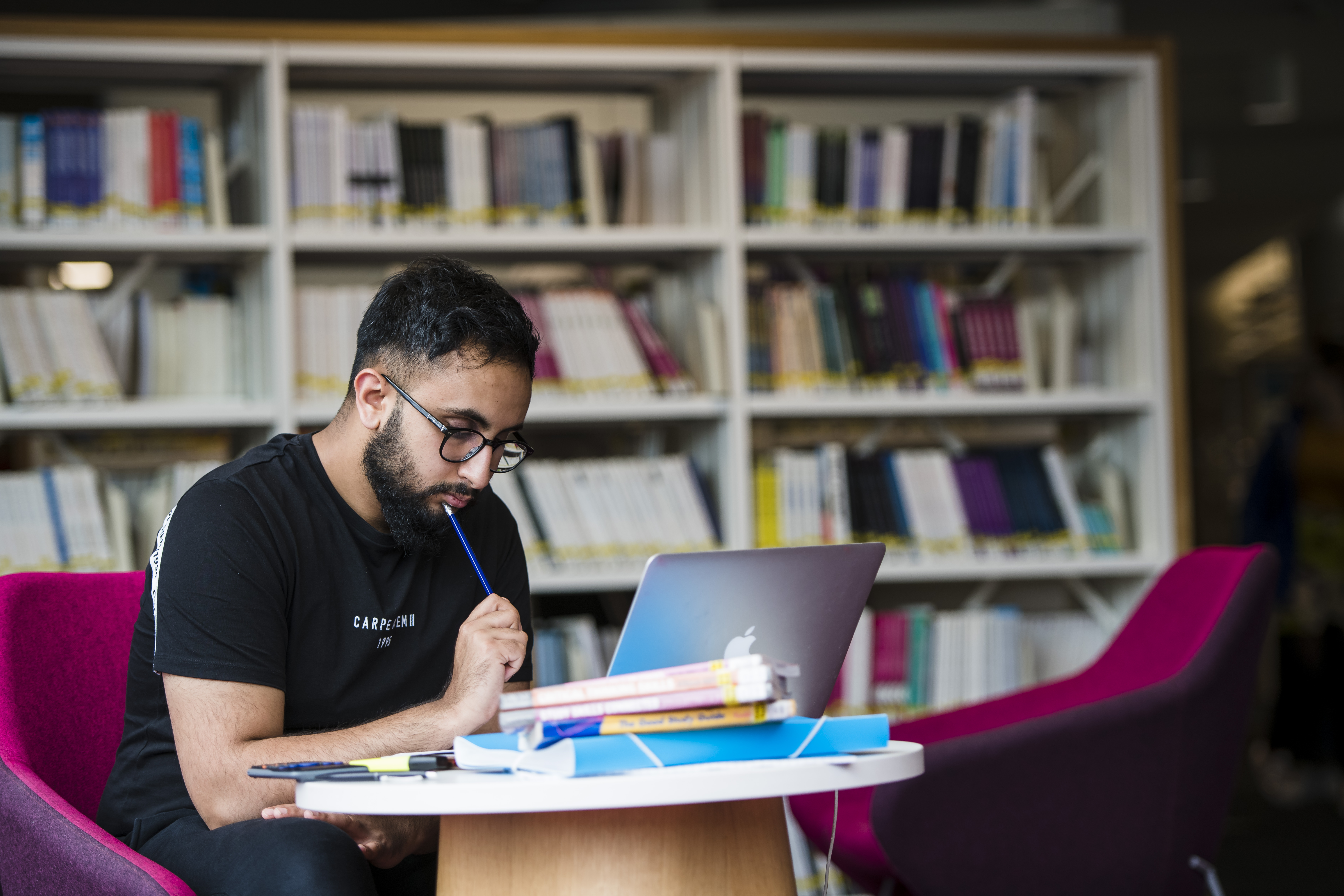 A student studying in the Skills Zone