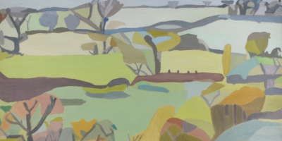 Abstract oil painting of a Yorkshire landscape scene.