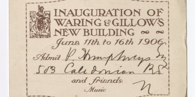 front of Willow & Gillow opening event ticket