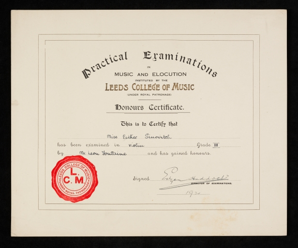 certificate in violin playing